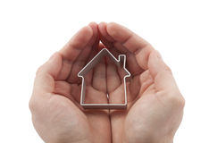 House in hands Stock Photo