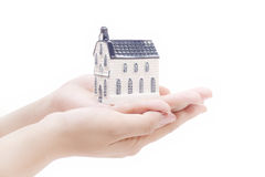 House in hands,real estate economy concepts Royalty Free Stock Photography