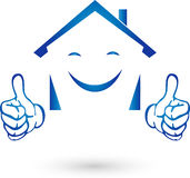 House with hands and smile, real estate and real estate agent logo Royalty Free Stock Images
