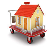 House and Handtruck (clipping path included). House and Handtruck. Image with clipping path Royalty Free Stock Images