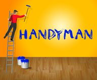 House Handyman Means Home Repairman 3d Illustration. House Handyman Meaning Home Repairman 3d Illustration Stock Image