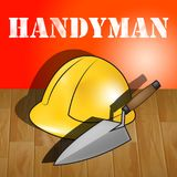House Handyman Representing Home Repairman 3d Illustration. House Handyman Builders Hat Representing Home Repairman 3d Illustration Royalty Free Stock Photo