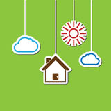 House hang sun cloud Royalty Free Stock Images