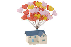 House hanging on many heart balloons. 3D illustration. House hanging on many heart balloons Stock Image