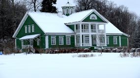 The house of Hannibal Pushkin`s ancestor. The manor house of Hannibal Pushkin`s ancestor in Petrovsky,frosty January day.Pushkin Mountains. Pskov region. Russia stock photography