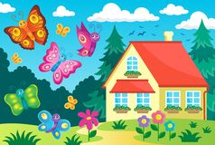 House and happy butterflies Royalty Free Stock Photos