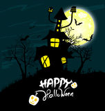 House and Happy Halloween message design background Stock Photo