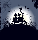 House and Happy Halloween message design background Royalty Free Stock Photo
