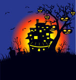 House and Happy Halloween message design background Royalty Free Stock Photos