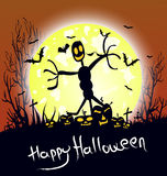 House and Happy Halloween message design background Stock Images