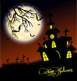 House and Happy Halloween message design background Stock Image
