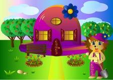 House-hat  hedgehog gardener Royalty Free Stock Photo