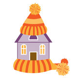 House in a hat and a scarf. Vector illustration Royalty Free Stock Photos