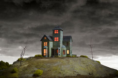 House on Haunted Hill. A creepy old house on Haunted Hill royalty free stock photo