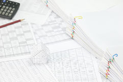 House have blur pencil with calculator and overload of paperwork Royalty Free Stock Photography