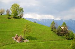 House and haystacks on beautiful hills Stock Photography