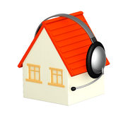House with headphone Royalty Free Stock Images