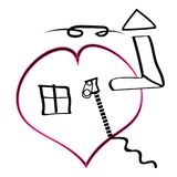 House in heart  icons. Comfort warm love Stock Images