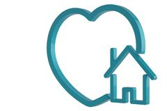 House with heart symbol isolated on white background. 3D illustration.  stock illustration
