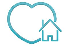 House with heart symbol isolated on white background. 3D illustration.  vector illustration