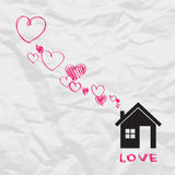 House and hearts. Royalty Free Stock Photography