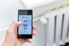 House heating temperature control system with smart phone royalty free stock image