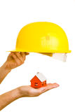 House and Helmet Royalty Free Stock Images