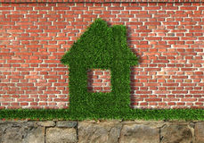 House of Herbs. House from the grass on a bricks wall Stock Images