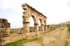 House of Herkules's Workers, Volubilis, Morocco. In antiquity, Volubilis was an important Roman town situated near the westernmost border of Roman conquests. It Stock Photos