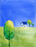 House on hill. Minimalistic rural landscape with house Royalty Free Stock Photo