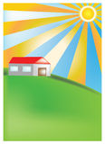 House on the hill. Vector image of sunny day and house on the hill Stock Photos