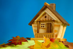 House on a Hill. Wooden house on a hill covered with fallen autumn leaves under blue sky Royalty Free Stock Photo