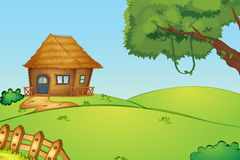 House on a hill. Illustration of a house on a hill Royalty Free Stock Image