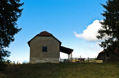 House on a hill at autumn sunny day, Radocelo mountain Royalty Free Stock Photos
