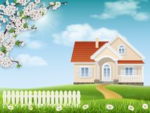 House on a hill and a blossoming tree. Spring landscape. Country house on a hill. Grass and flowering tree branches in the foreground vector illustration