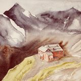 House on a hill among high mountains. Watercolor landscape. stock photo