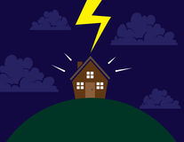 House on hill lightning Royalty Free Stock Image
