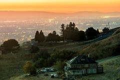 House on the hill looking at the Silicon Valley. Mt Hamilton, San Jose, Santa Clara County, California, USA stock photography
