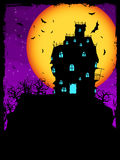 House on hill at night with moon. Vector Haunted House on a Graveyard hill at night with full moon. EPS 8 vector file included Stock Image