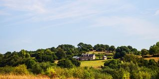House on a hill in Normandy, France stock photography