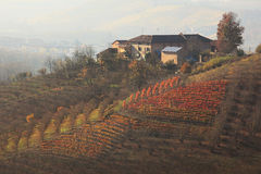House on the hill. Piedmont, Northern Italy. Royalty Free Stock Photography