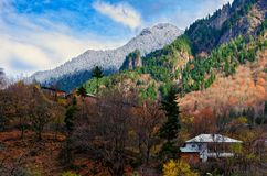 House on hillside surrounded by autumn trees, place of solitude. Communing with nature, environmentally friendly place, beautiful view of colorful fall hills royalty free stock photography