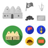 House hive, national flag, coffee pot copper, grains coffee.Turkey set collection icons in monochrome,flat style vector. Symbol stock illustration stock illustration