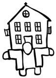 House Holder Drawing. House holder figure drawing black, vector illustration, horizontal, isolated Royalty Free Stock Photo
