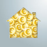 House Hole Golden Euro Coins Royalty Free Stock Image