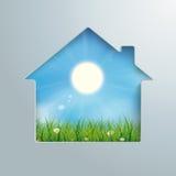 House Hole Sun Blue Sky Grass Royalty Free Stock Photography