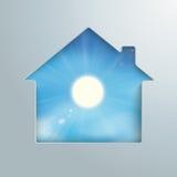 House Hole Sun Blue Sky. House shape with blue sky with sun in the hole Stock Photos