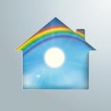 House Hole Sun Rainbow Blue Sky Stock Photos