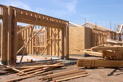 House and home. New house and home under construction royalty free stock photo