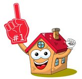 House home cartoon funny character fan supporter number one glove isolated. On white vector illustration